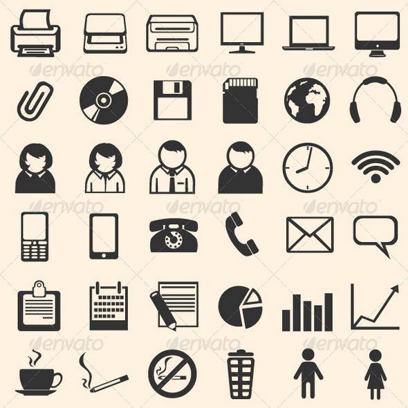 36 Black Office Icons   Clock, Printers and Icon files