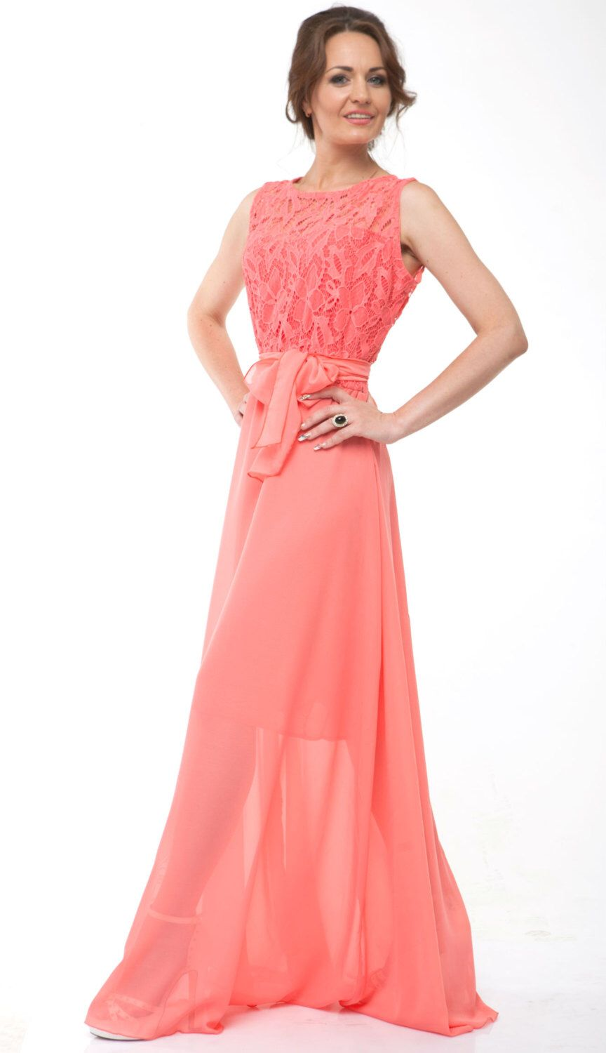 Coral Bridesmaid Dress Chiffon Coral Evening Dress Wedding Coral ...