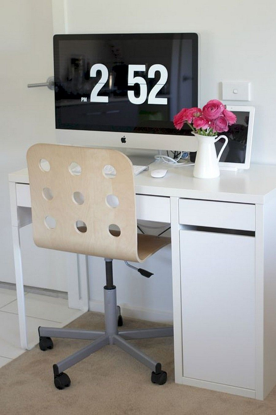 IKEA MICKE Computer Desk White with JULES Swivel Chair from IKEA ...