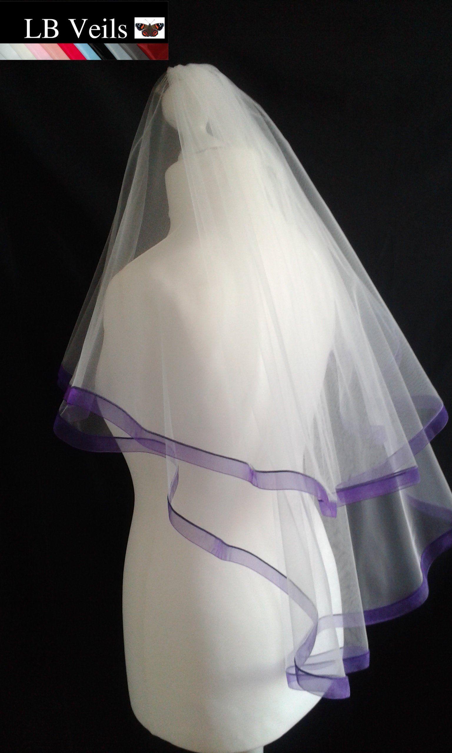 Purple Ribbon Edge Veil 2 Tier Wedding Organza Waist