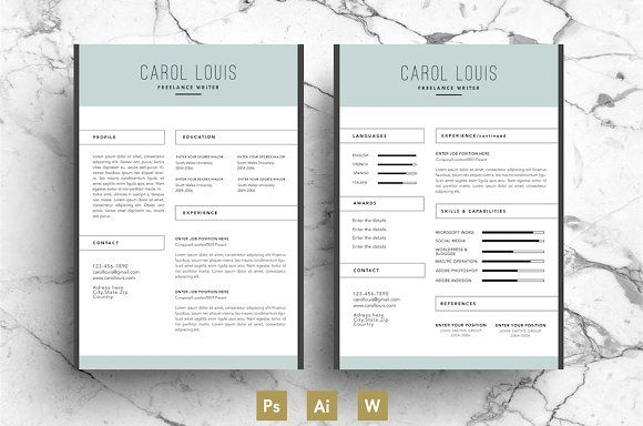Cv Template  Creative Resume By EmilyS Art Boutique On