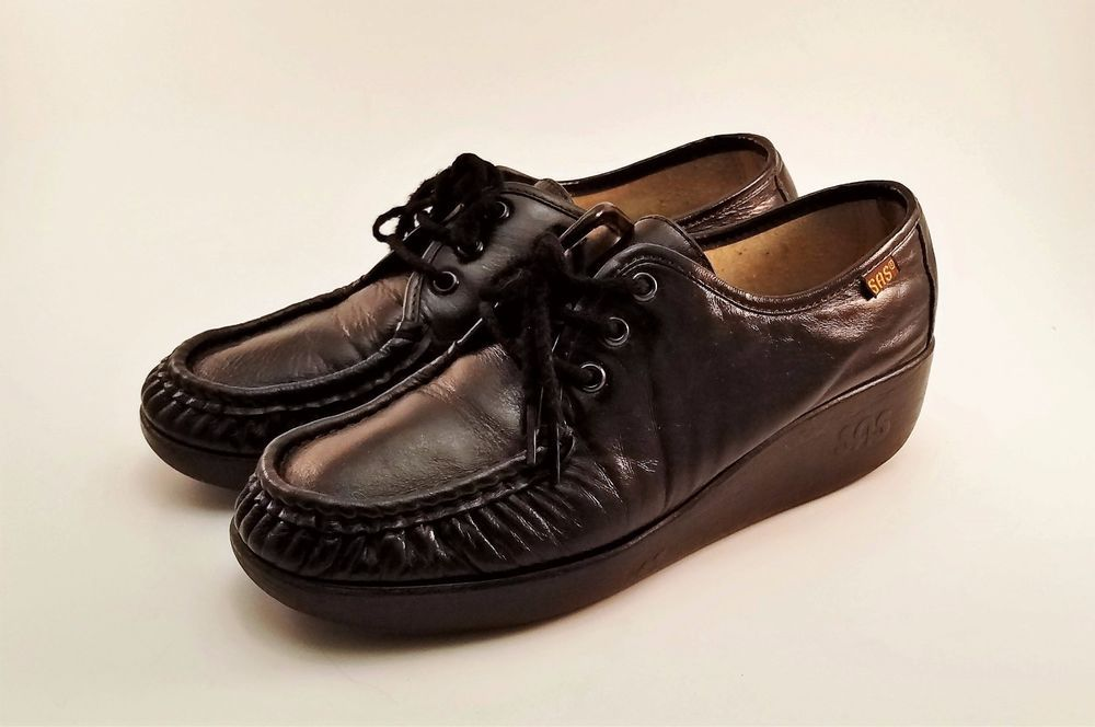 2f8460a4b010 SAS Siesta Womens Black Leather Lace Up Oxford Comfort Shoes Size 7  SAS   SiestaLaceUpOxfords