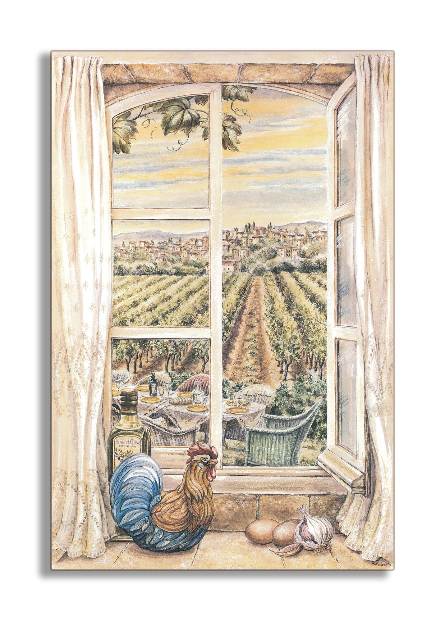 French country faux window scene wall plaque french