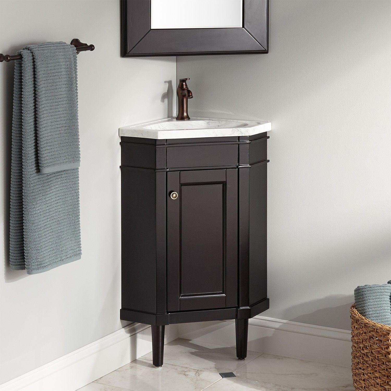 1013 95 W Cabinet 23 Winstead Espresso Corner Vanity With Carrara Marble Top Corner Bathroom Vanity Bathroom Vanity Corner Sink Bathroom Small