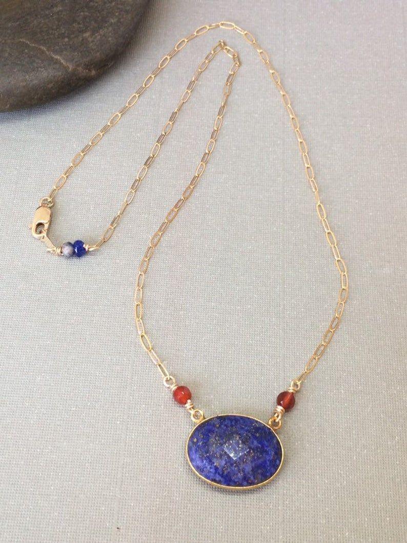 Lapis Lazuli Pendant Necklace Lapis And Carnelian Necklace Etsy In 2020 Lapis Lazuli Pendant Pendant Necklace Carnelian Necklace