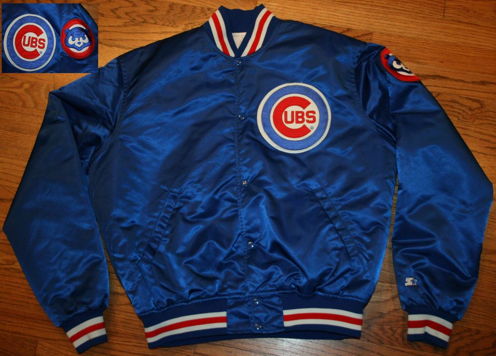 Vtg Chicago Cubs Starter Diamond Collection MLB Button Up Satin Jacket Sz Men's 2XL