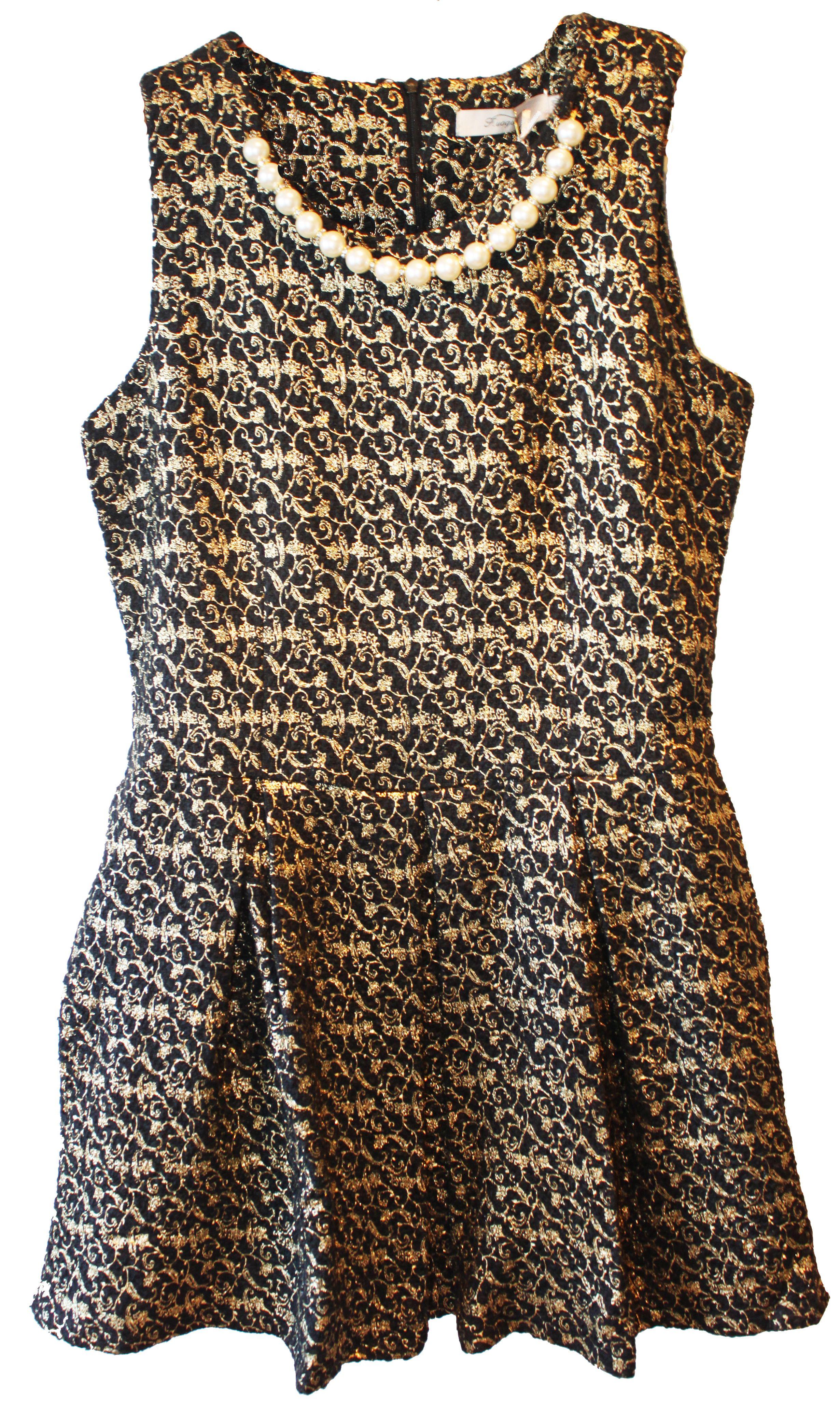 1fe1c3661 Vestido negro y dorado con adorno perlas cuello