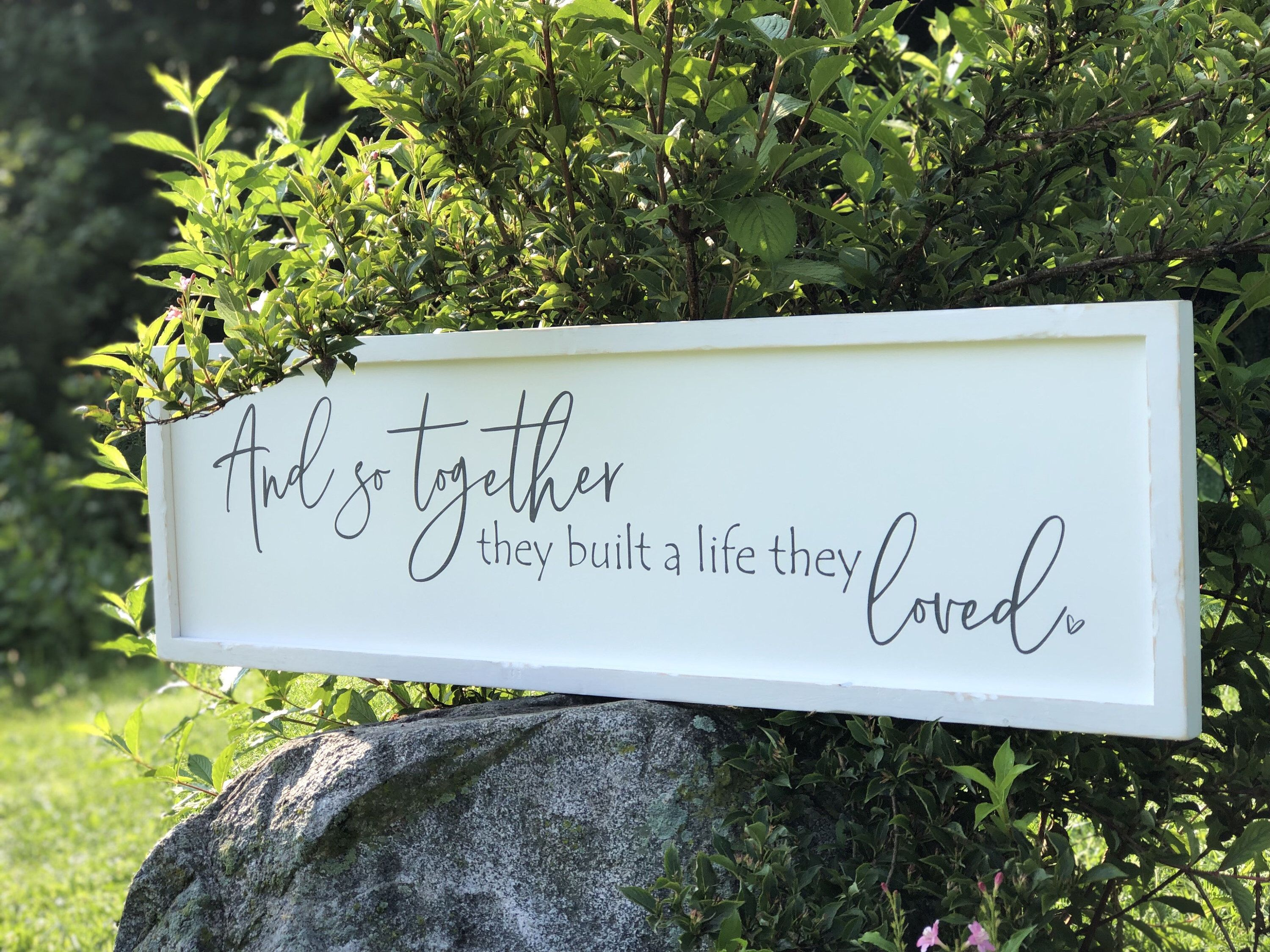 Master bedroom art above bed  And so together they built a life they loved sign  above bed sign
