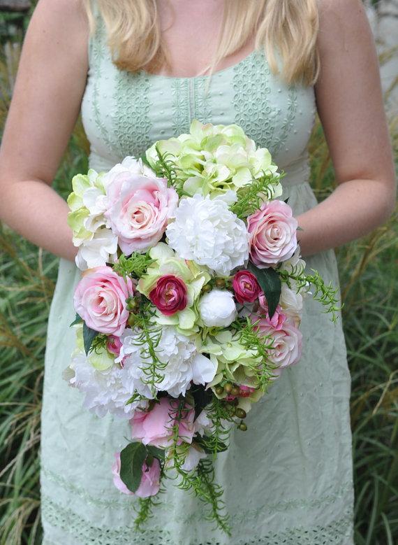 Cascade Wedding Bouquet, Peony, Rose, Ranunculus, Hydrangea ...