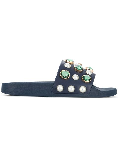 Tory Burch Woman Crystal And Faux Pearl-embellished Leather Slides Navy Size 5 Tory Burch GDu5SA6