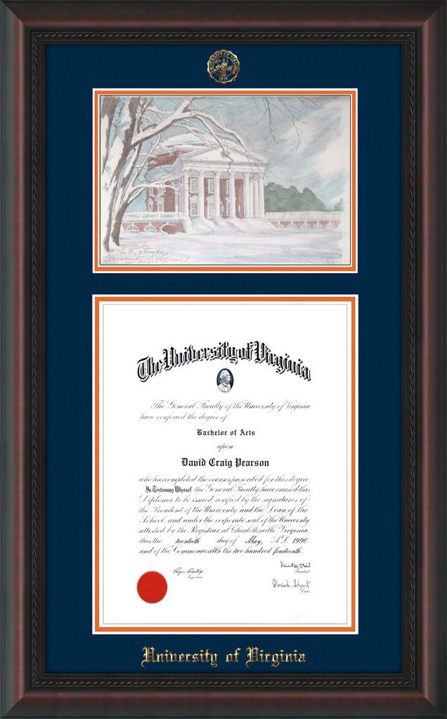 University of Virginia Diploma Frame - Mahogany Braid - w/Embossed ...