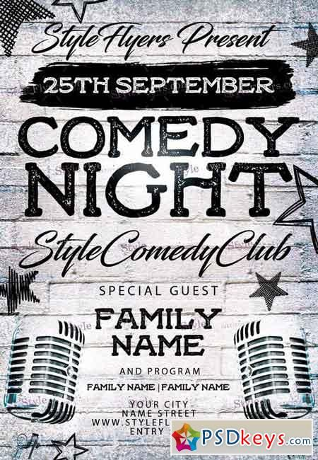 Comedy Night Psd Flyer Template  Facebook Cover  Ads
