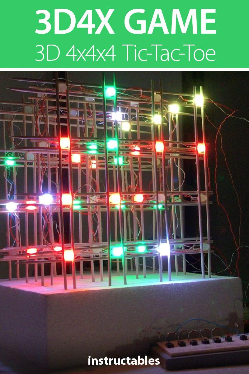 3D4x Game: 3D 4x4x4 Tic-Tac-Toe   LEDs   Grid tool, Tic tac