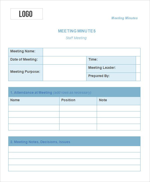 Meeting Minutes Templates 11 Free Printable Excel Pdf Word