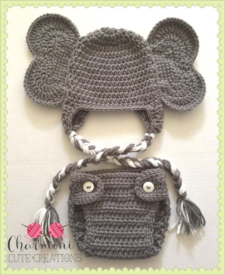 Crochet baby elephant hat and diaper cover  7c689d7b94d