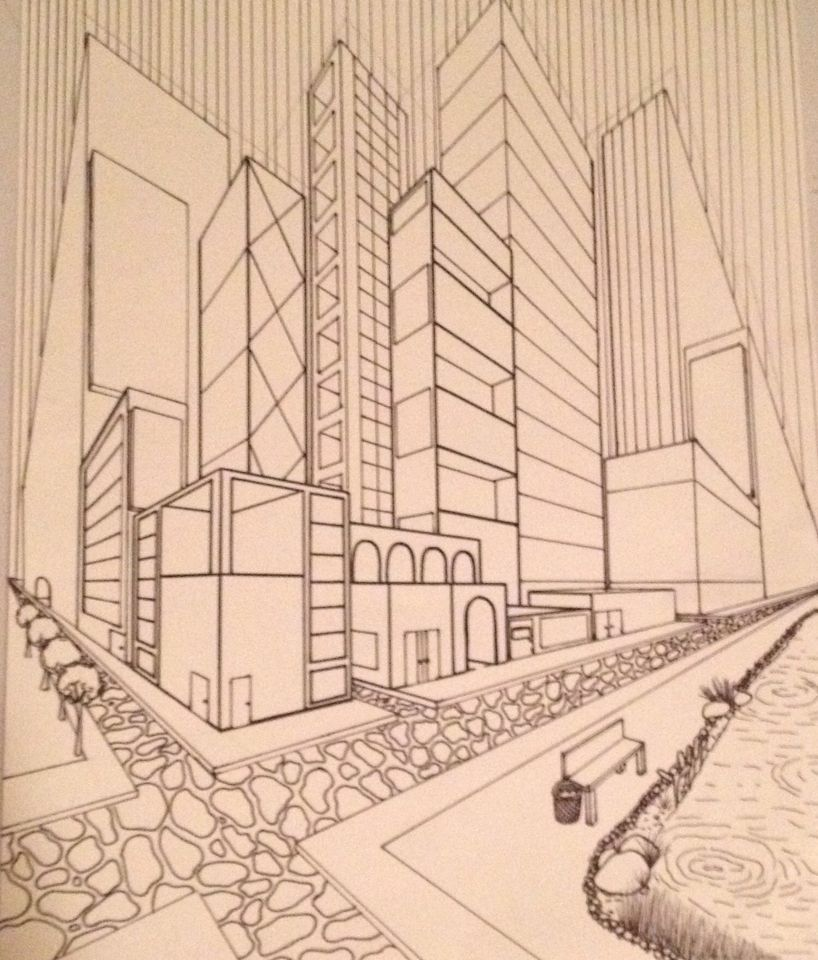 2 Point Perspective City Drawing 1 Dessin Perspective Art