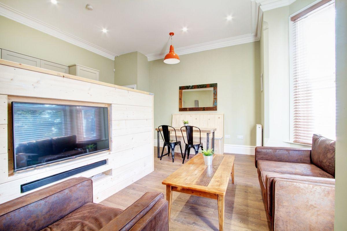 Living Room Nottingham built in flat screen tv. flat 1 28 waterloo road 2 bedroom