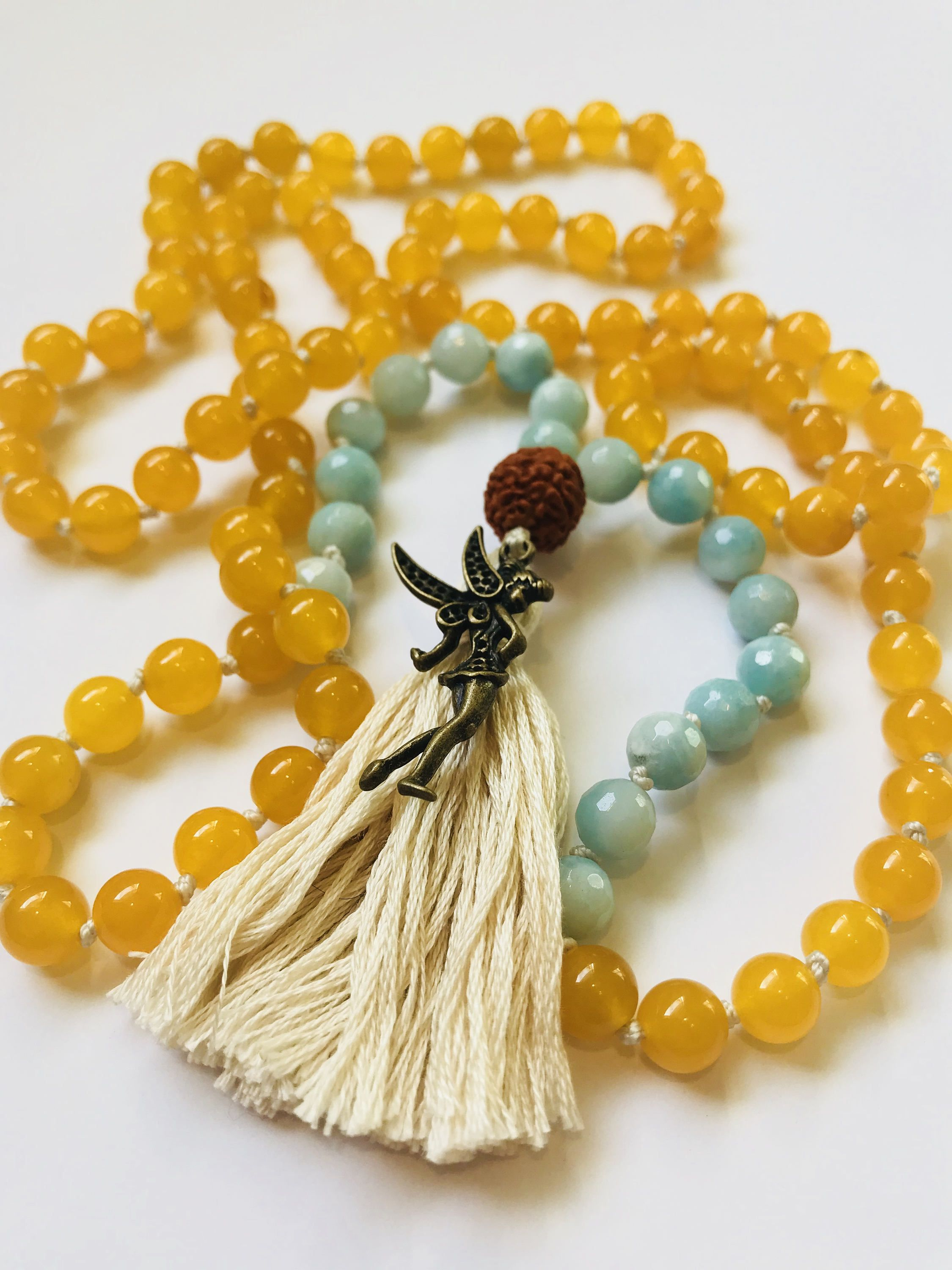 Excited to share the latest addition to my #etsy shop: The Never Grow Up Mala- Childlike Wonder. Yellow Jade, Green Amazonite and Rudraksha Japa Mala Necklace. 108, Hand Knotted http://etsy.me/2iZKqYL #jewelry #moksayoga