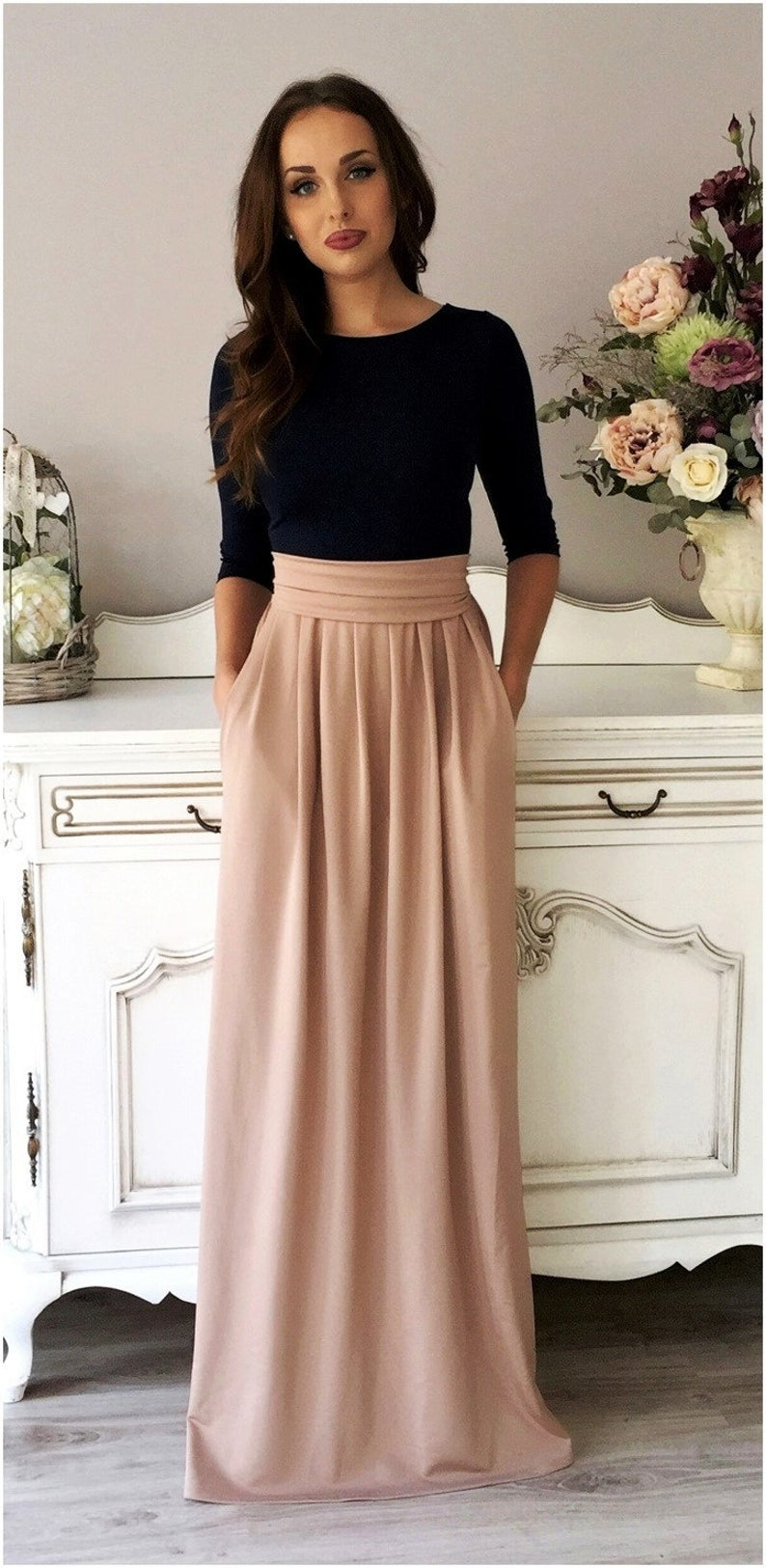 Navy Blue Cappuccino Brownish Maxi Dress 3 4 Sleeves Round Neckline Pockets Wide Sash In 2021 Fashion Classy Fashion Womens Dresses [ 1625 x 794 Pixel ]
