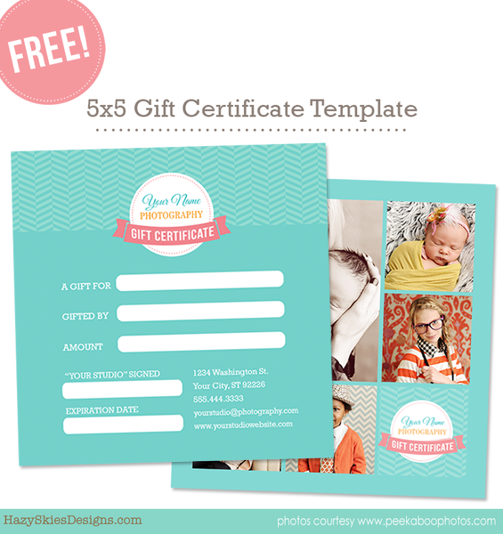 Free Gift Card Template for Photographers Photoshop – Gift Voucher Free Template