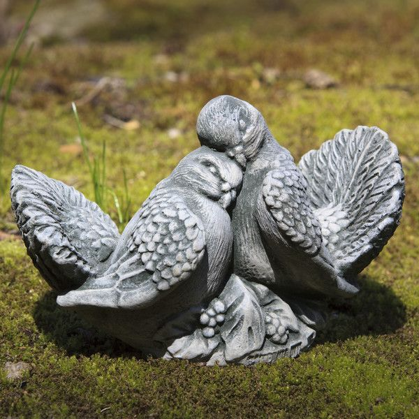 STONE GARDEN PAIR OF BIRD DOVE PIGEON ORNAMENTS
