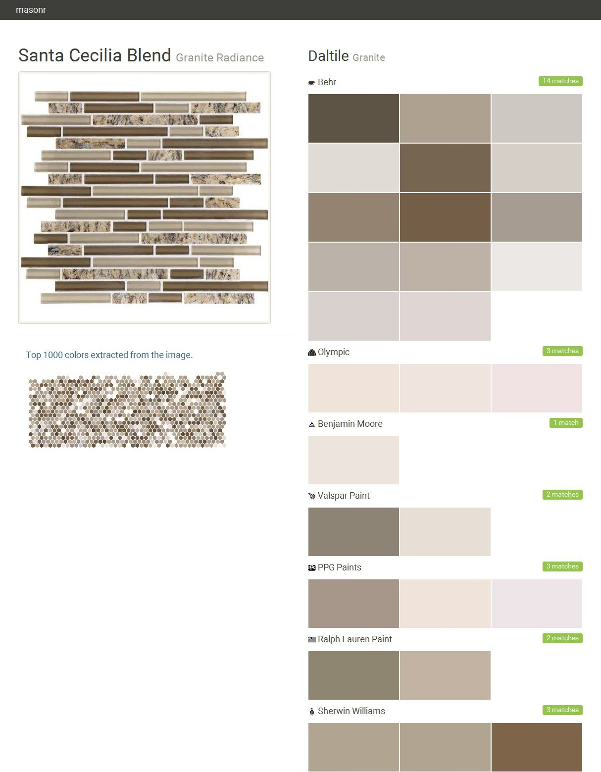 click the gray visit button to see the matching paint names - Sherwin Williams Color Matching
