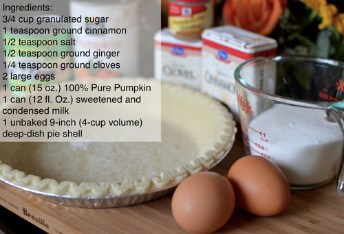 Simple Pumpkin Pie - Bake at 450° for 15 minutes and then reduce to 350° for 40-50 minutes.