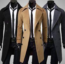Men Slim Stylish Trench Coat Winter Long Jacket Outwear Double ...