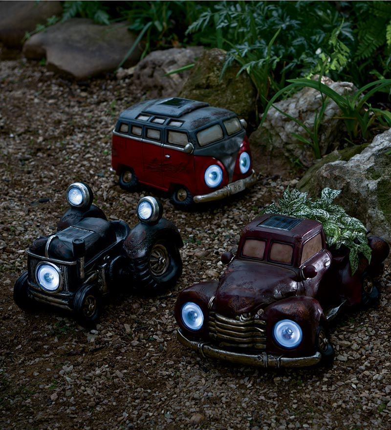 Resin Solar Vintage Tractor Garden And Path Light
