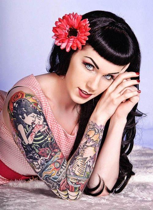 rockabilly tattoos full sleeve tattoo girl pics arm sleeve tattoo pinterest rockabella. Black Bedroom Furniture Sets. Home Design Ideas