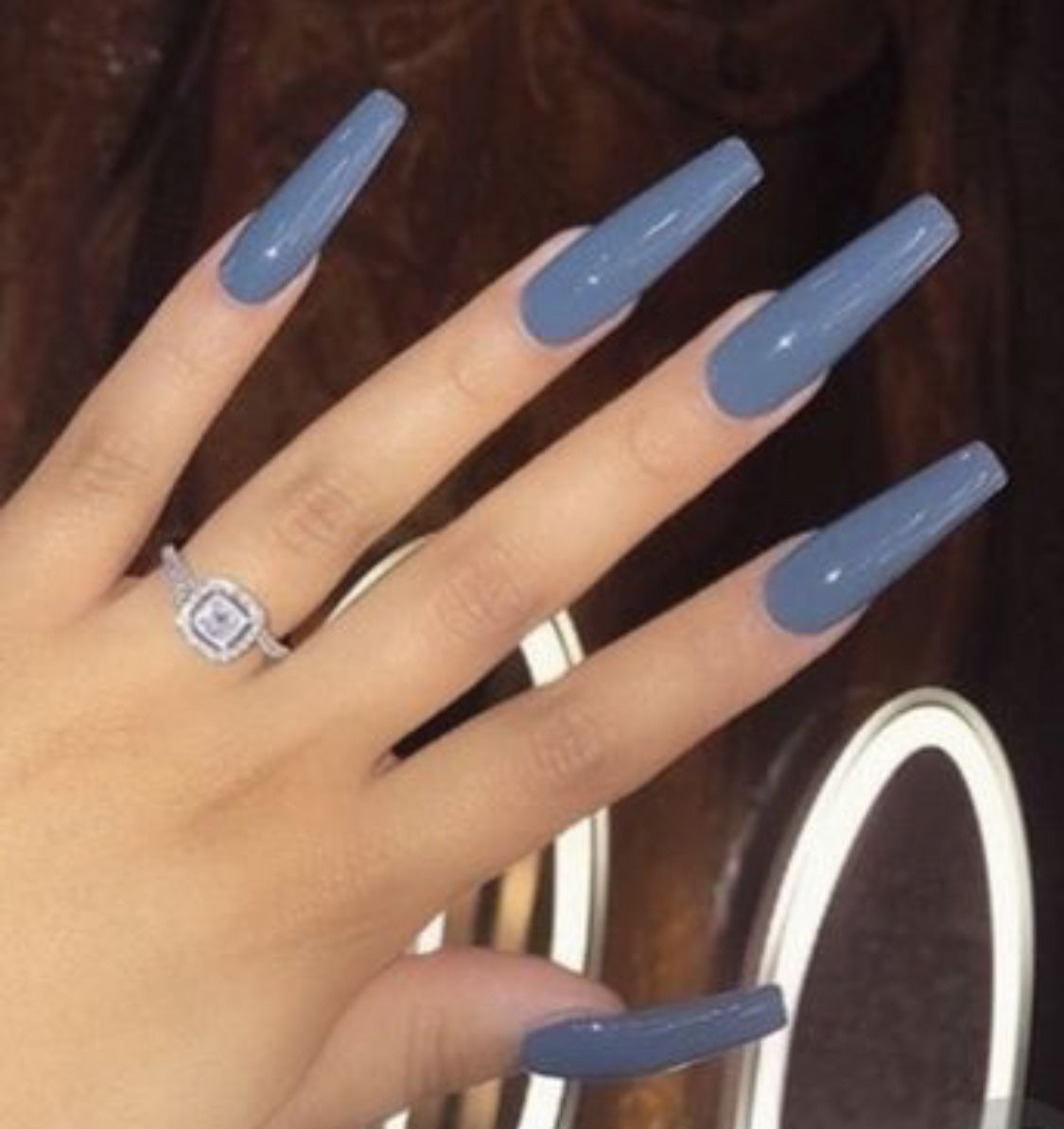 Long acrylic coffin nails in blue, perfect winter nails ...