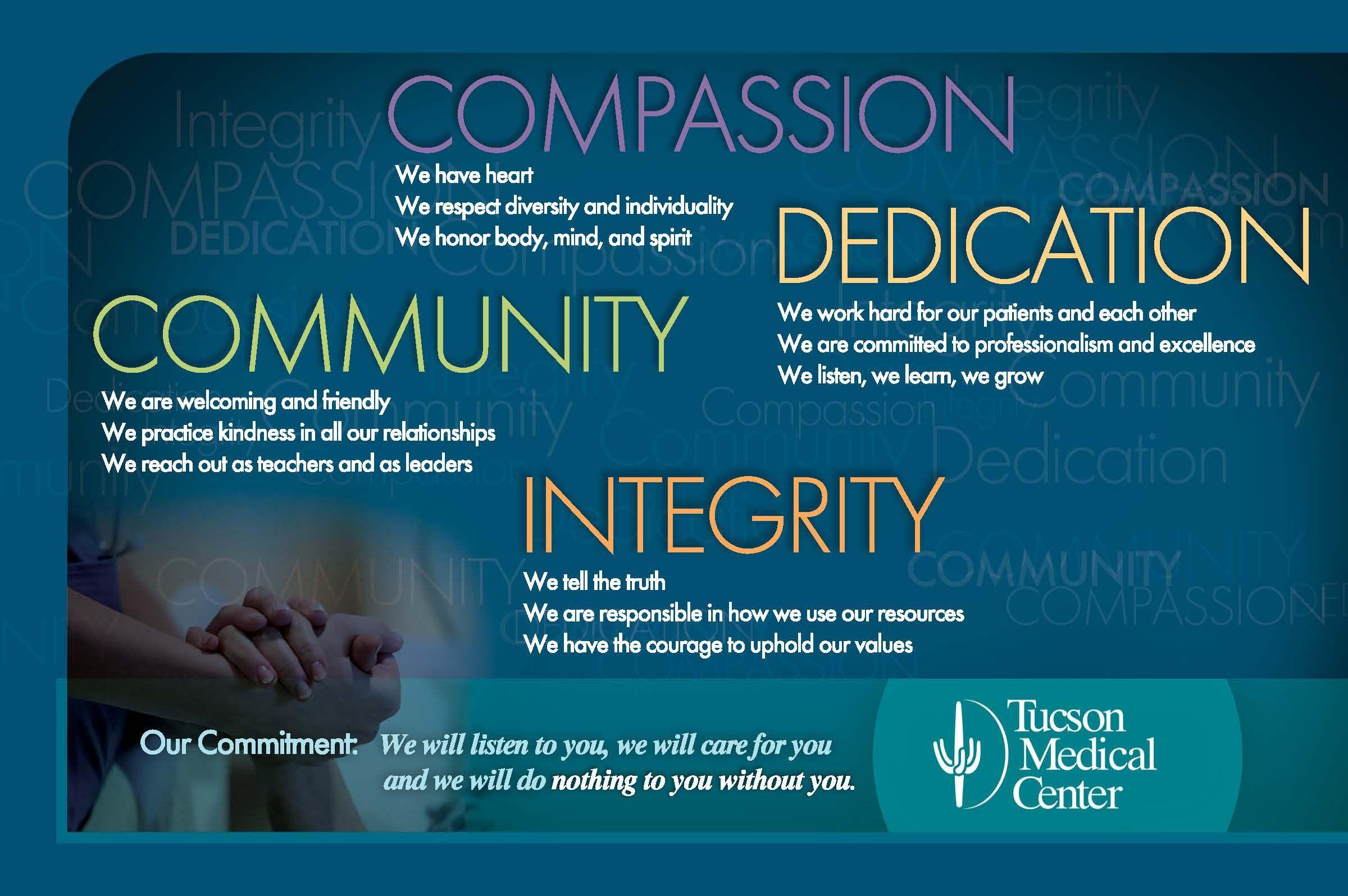 Mission Vision Values Tucson Arizona Az Tucson Medical Center Mission Work Culture Medical Center Customer service mission statement examples