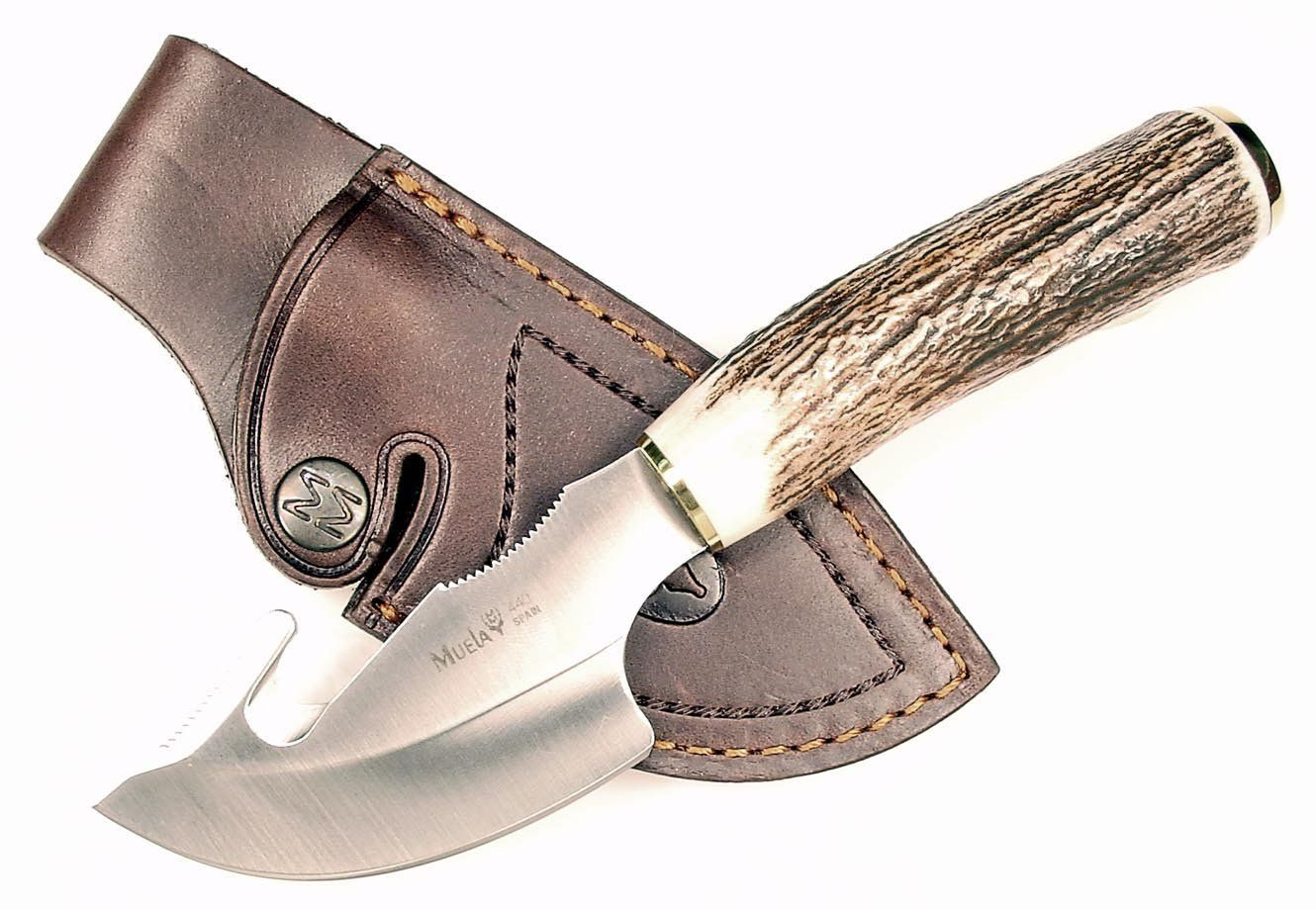 Ruko 3 1 8 Inch Blade Gut Hook Skinning Knife With Genuine Deer Horn Handle And Leather Sheath Learn More By Visiting T Skinning Knife Leather Sheath Knife