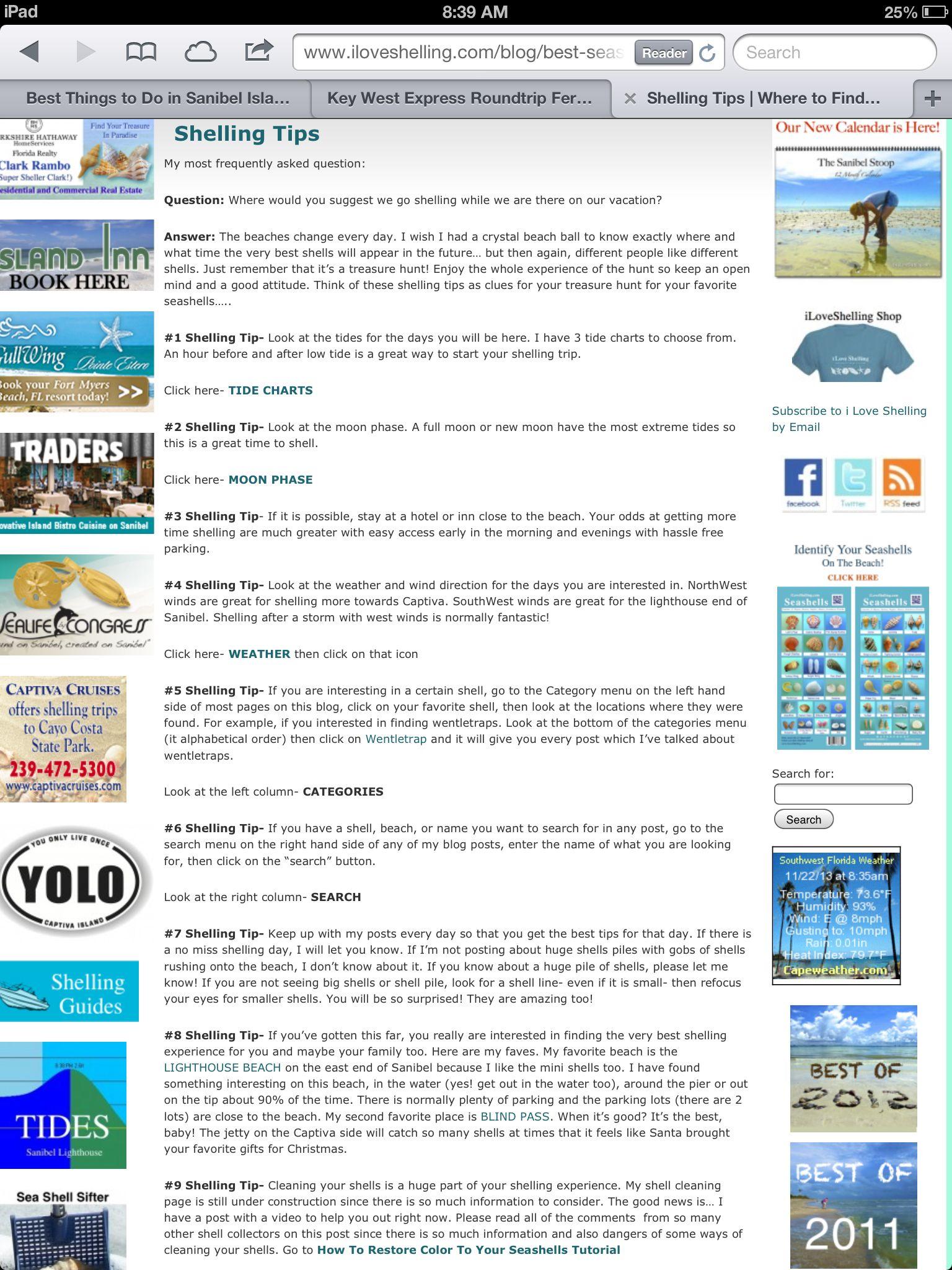 Great Sanibel Shelling Tips Iloveshelling Com Sanibel Sanibel Island Island Tour