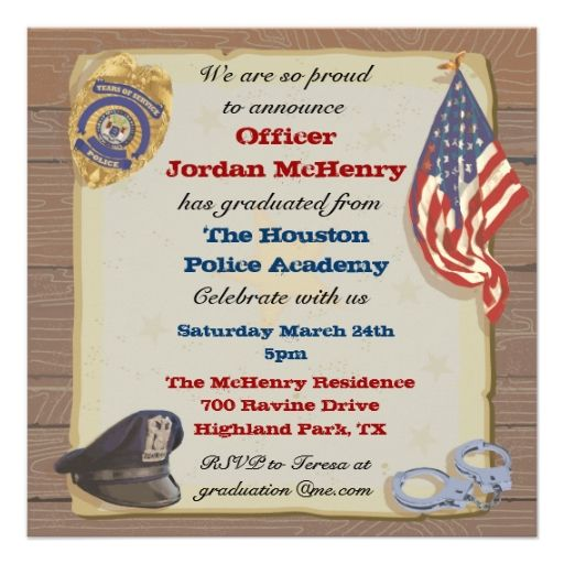 Police Officer Party Invitation   Graduation Collections
