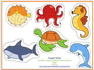 free puppet sticks that match the new uploaded ocean printable no prep preschool printables. Black Bedroom Furniture Sets. Home Design Ideas