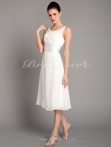 The Green Guide Sheath Column Chiffon Tea Length Scoop Wedding Dress 160865 Us 88 99