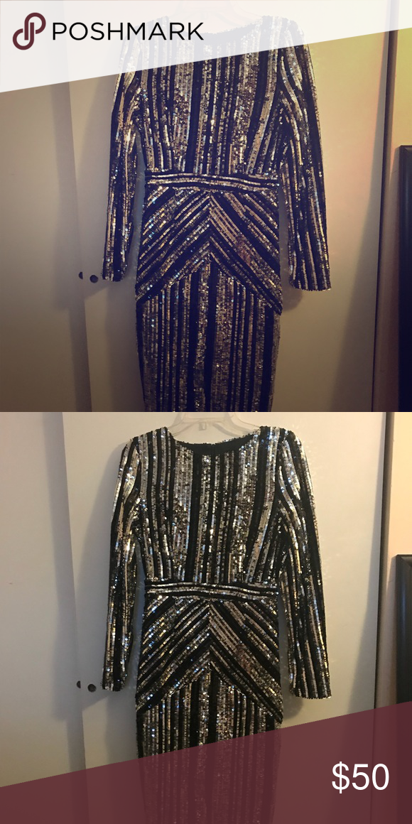 12e7991b Boutique Lara Stripe Sequin Midi Dress Black and Silver Striped Sequin Dress  - Midi Length Be