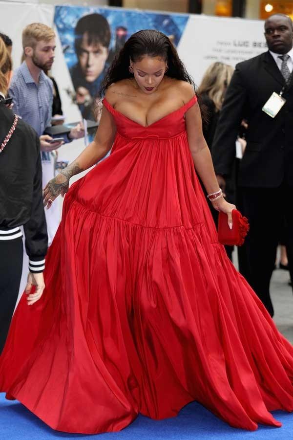 #Rihanna Red Off-the-shoulder Empire Evening #BallGown ...