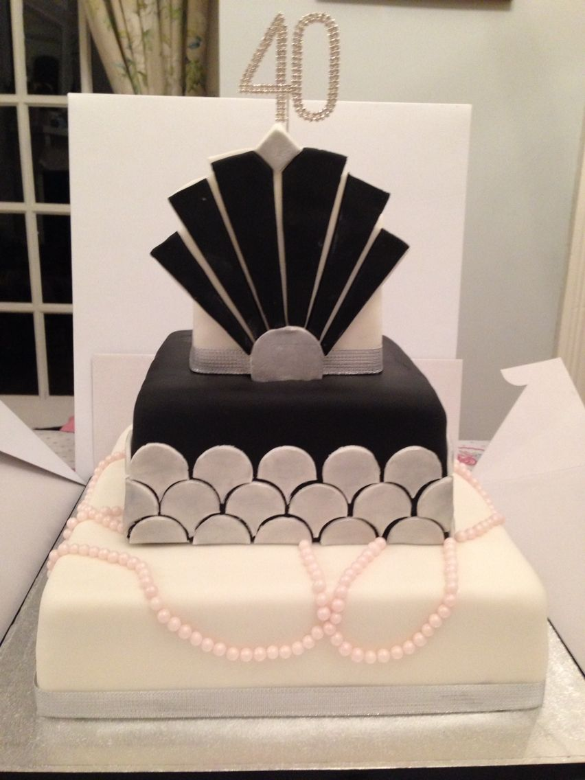 Black White And Silver Art Deco Inspired 3 Tier Cake By Httpswww
