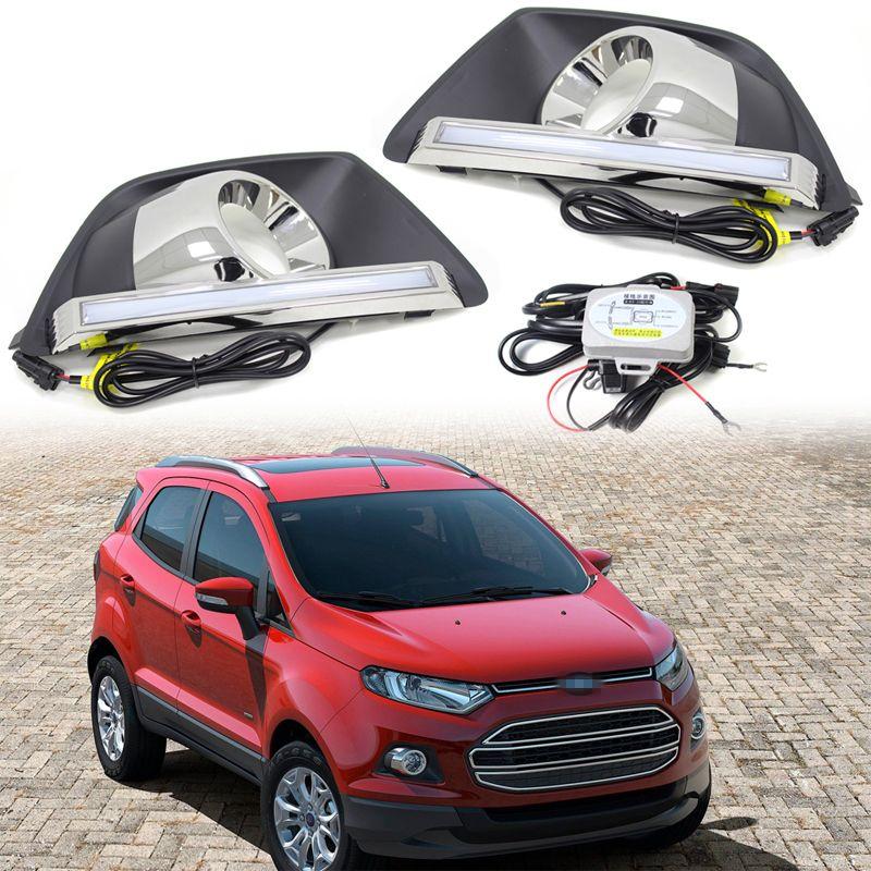 2pcs Car Led Light Daytime Running Light Lamp Drl With Fog Lamp