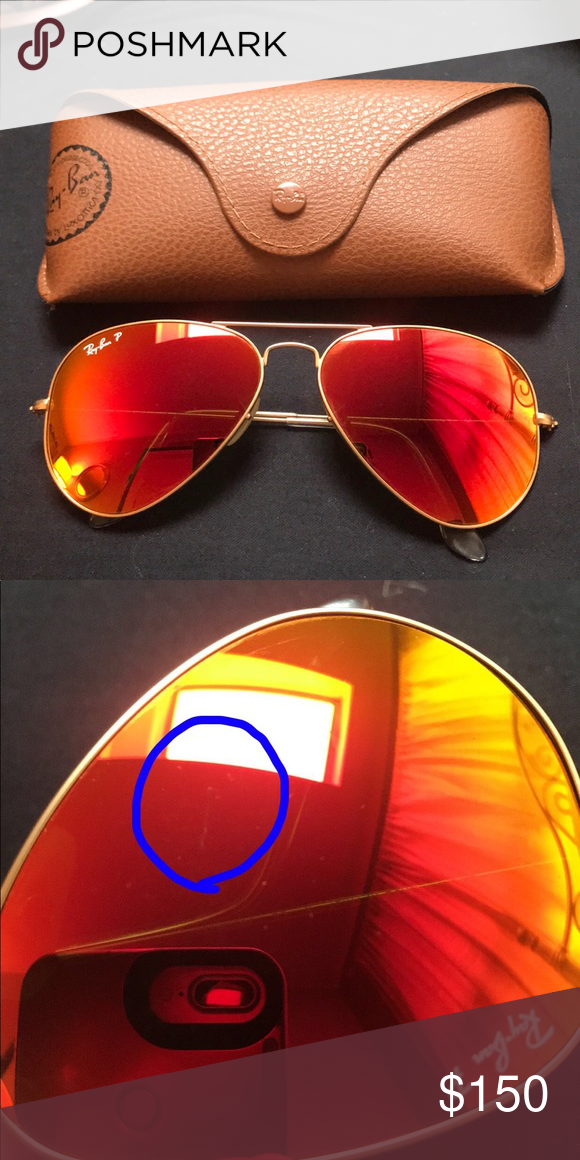 ray ban aviator orange flash polarized