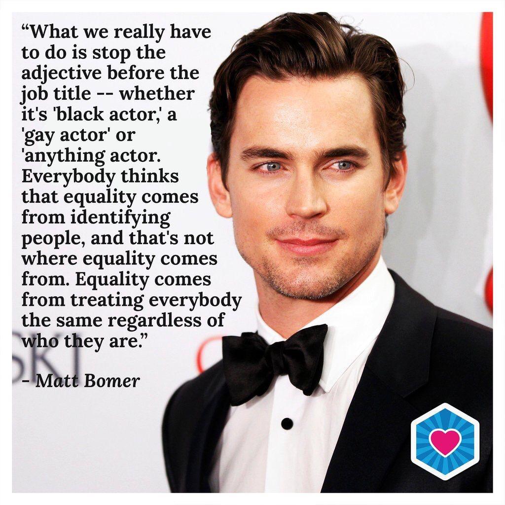Matt Bomer on equality MattBomer Black actors, People