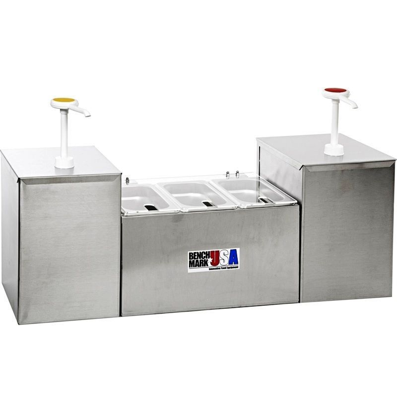 5-Section Condiment Holder & Dispenser, 2 Pump, 3 Well Concession Station System #Benchmark