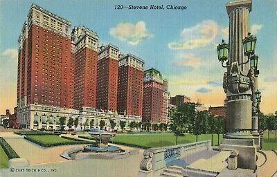 Postcard Stevens Hotel Chicago Illinois   eBay