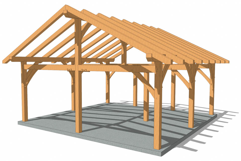 At 576 Square Feet This 24x24 King Post Plan Is Large Enough To Accomodate Many Different Types Of Activities In In 2020 Pavilion Plans Barn Plans Pergola On The Roof