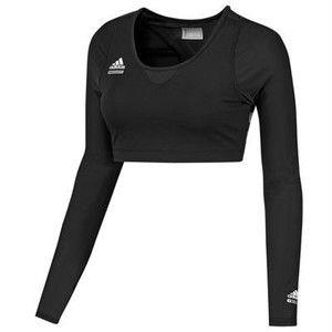 Adidas TechFit PowerWeb Sports Bra Top MEDIUM M Long Sleeve Black ...