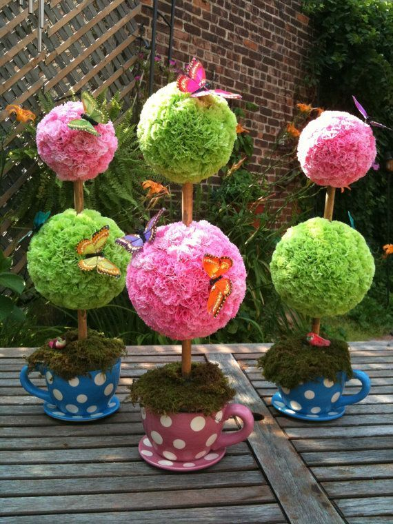 Delightful Topiary Decorating Ideas Part - 8: Carnation Topiary Centerpiece Alice In Wonderland By JSanchi21