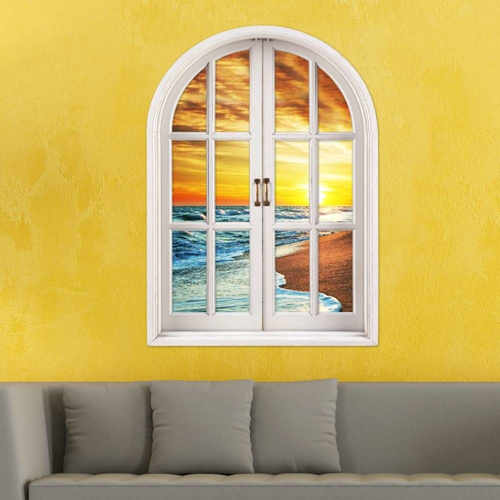Wave 3D Artificial Window View PAG Wall Decals Sunset View Room ...