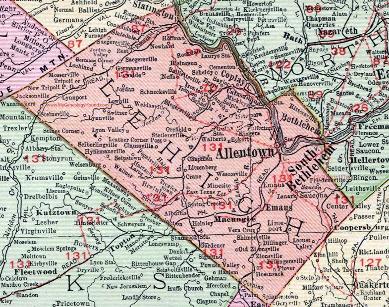 Lehigh county pennsylvania 1911 map allentown macungie lehigh county pennsylvania 1911 map by rand mcnally allentown pa publicscrutiny Images
